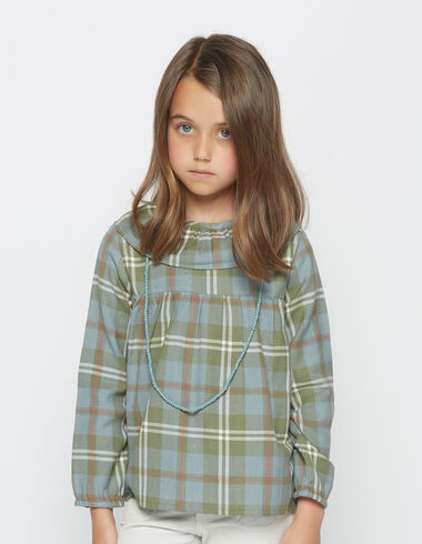 Girl's green check ruffle blouse - View all > - Nícoli