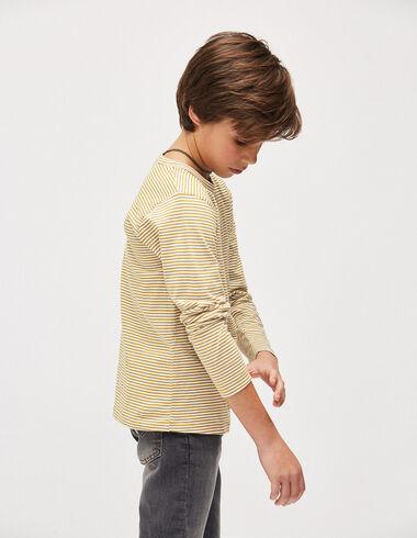 Camiseta niño rayas mostaza/crudo - Camisetas - Nícoli