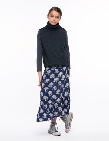 Jupe longue fleur indienne bleue - Skirts for girls! - Nícoli