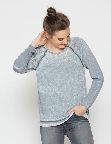 T-shirt effiloché bleu foncé pour filles - Tee-shirts - Nícoli