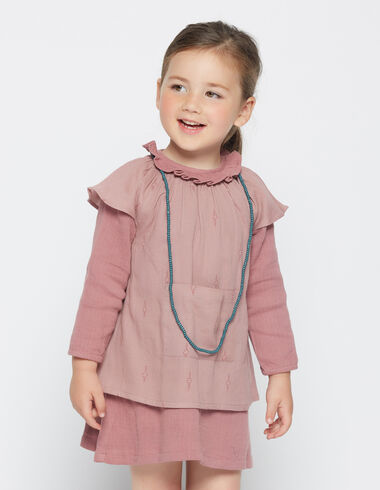 Girl's strawberry herringbone pinafore dress - Dresses - Nícoli