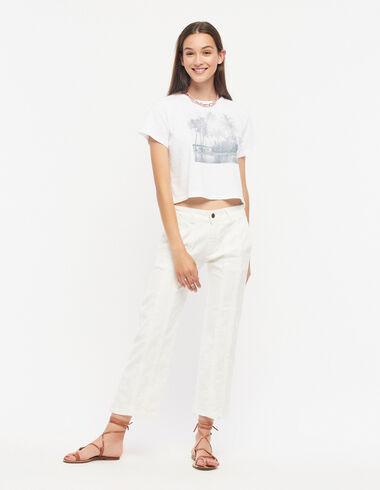 White straight leg trousers with fringe - Denim - Nícoli