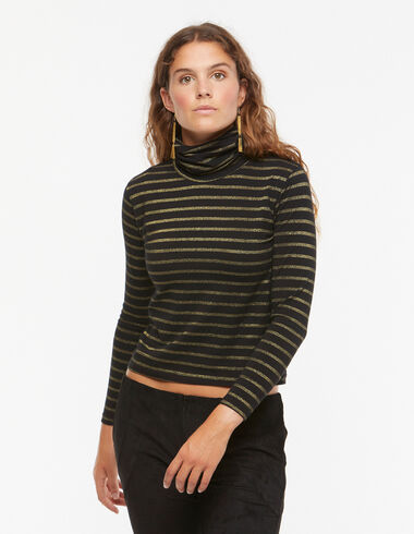Black gold-stripe turtleneck T-shirt - Trendy stripes - Nícoli