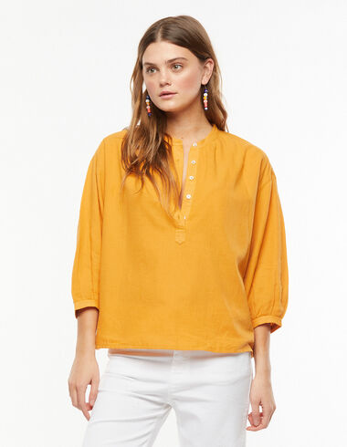 Orange lantern sleeve shirt - Blouses and Tops - Nícoli