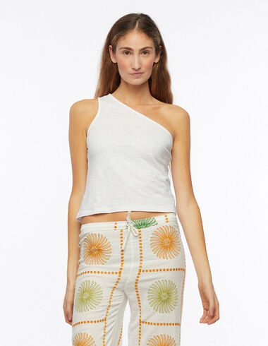 White asymmetric sleeveless t-shirt - Hohenlohe Sisters - Nícoli