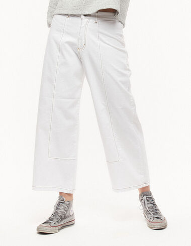 White wide-leg trousers with topstitching - Denim - Nícoli