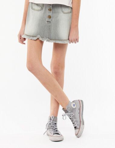Jupe boutons poche grise - Niña - Nícoli