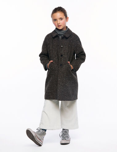 Mottled brown round neck coat - View all > - Nícoli