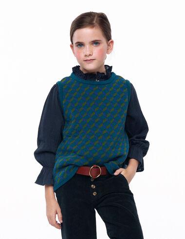 Green geometric print round neck vest - View all > - Nícoli