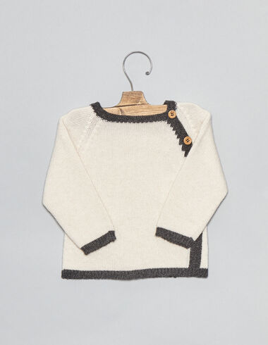 Natural bicolour baby sweater - View all > - Nícoli