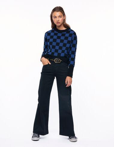 Pantalon wide leg court total black - The Square Print - Nícoli
