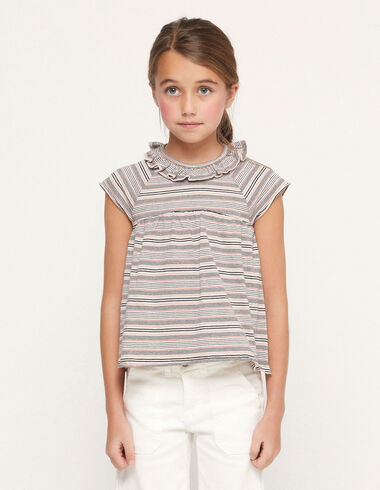 Pink striped ruffle neck t-shirt - View all > - Nícoli