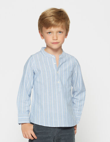 Chemise col mao rayée écrue pour petits garçons - Chemises - Nícoli