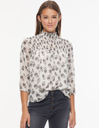 Ecru shirred collar blouse with anthracite flower detail - View all > - Nícoli