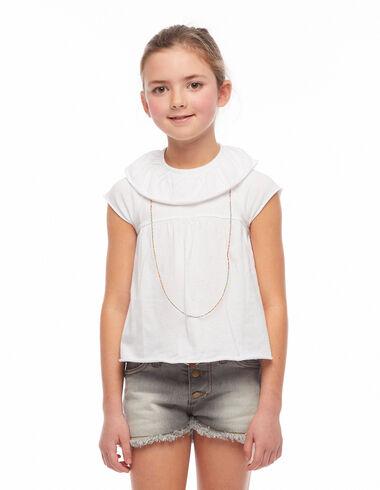White ruffle t-shirt - The Trendiest Jacket - Nícoli