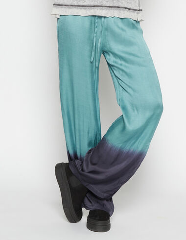 Girl's green tie dye trousers with opening - Pants - Nícoli