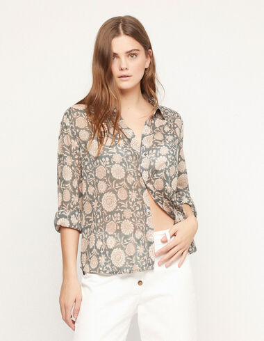 Indian flowers shirt with pockets - View all > - Nícoli