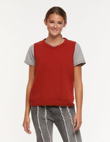 Orange round-neck vest - Waistcoats - Nícoli