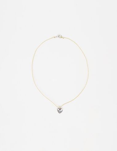 Golden cord necklace with silver heart - View all > - Nícoli
