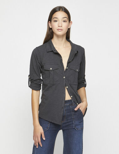 Tee-shirt chemise boutonné anthracite - Tee-shirts - Nícoli