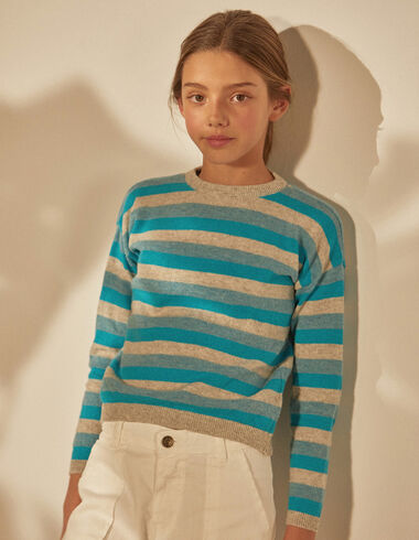 Girl's blue striped sweater - Jumpers & Sweatshirts - Nícoli