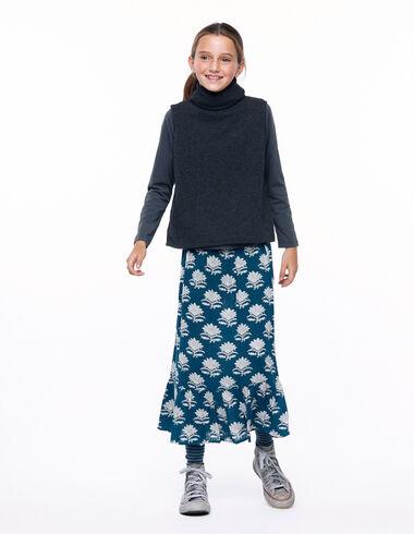 Falda larga flor india verde oscuro - The Autumn Print - Nícoli