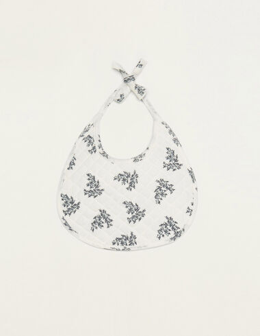 White bib with blue floral details - View all > - Nícoli