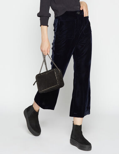Girl's blue velvet trousers with pockets - Trousers - Nícoli