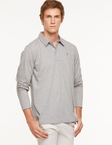 Grey long sleeve polo shirt - View all > - Nícoli