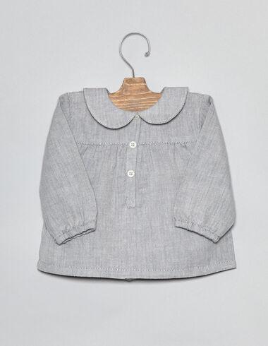 Blue herringbone collar baby blouse - Shirts - Nícoli