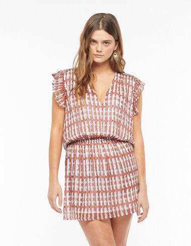 Orange ikat print ruffle shoulder dress - Dresses - Nícoli