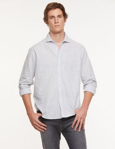 Blue striped v-neck shirt - View all > - Nícoli