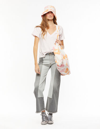 Grey wide-leg trousers with topstitching - New Colour - Nícoli