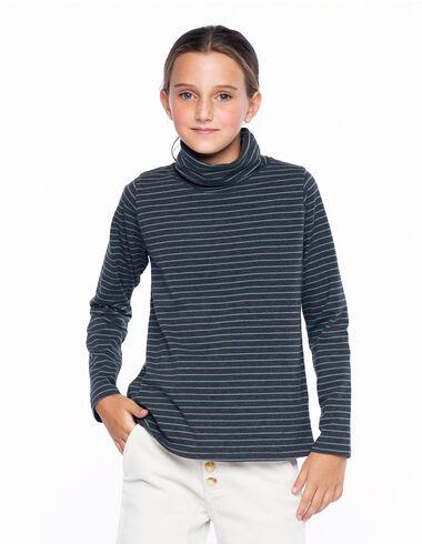 T-shirt col roulé petite rayure anthracite et bleu clair - Voir tout > - Nícoli