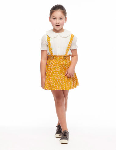 Mustard leaf print skirt with braces - View all > - Nícoli