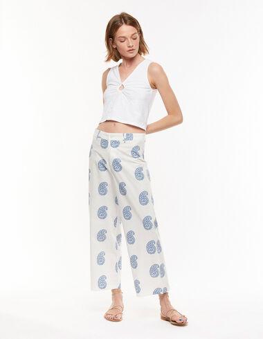 Pantalon large paisley grand bleu - Pantalons - Nícoli