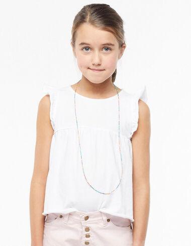 White ruffle shoulder t-shirt - Pink & White - Nícoli