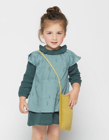 Girl's green herringbone pinafore dress - Dresses - Nícoli