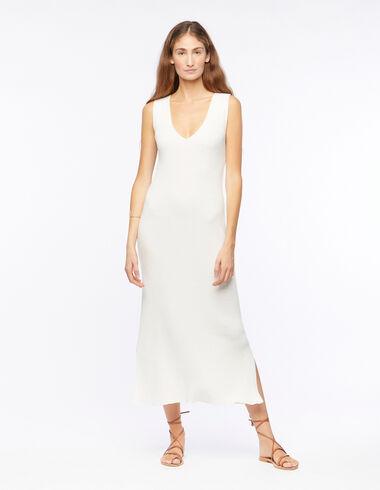 Robe col V côtelée blanche - The B&W Dress - Nícoli