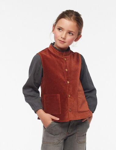 Terracotta velvet grandad collar vest - Waistcoats - Nícoli