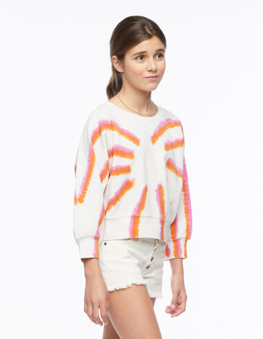 Sweat-shirt tie-dye orange et fraise - Beach Time - Nícoli