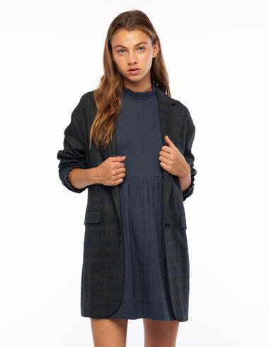Blazer oversize carreaux gris et bleu - Olivia's Favourites - Nícoli
