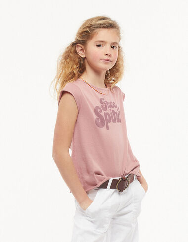 T-shirt free spirit mûre - Pink & White - Nícoli