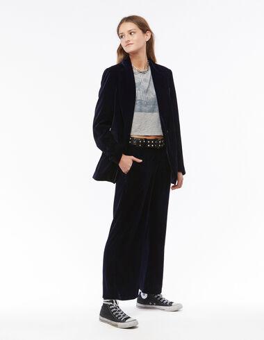 Pantalon droit velours bleu - Voir tout > - Nícoli