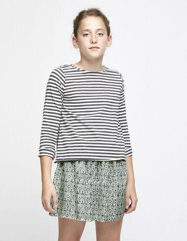 Tee-shirt rayé écru/anthracite - Tee-shirts - Nícoli