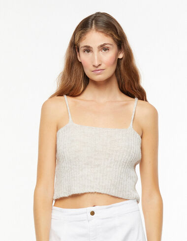 Grey ribbed top - The Essential Jacket - Nícoli