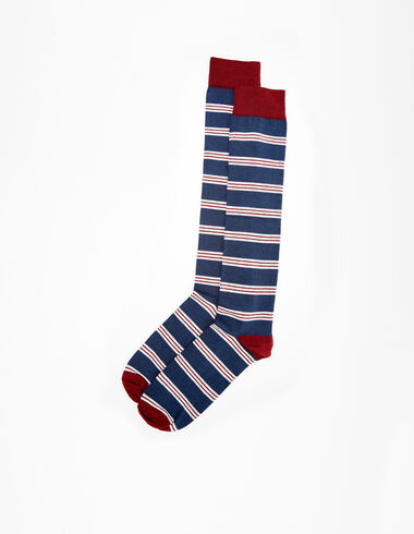 Chaussettes bleues rayures grenat - Voir tout > - Nícoli