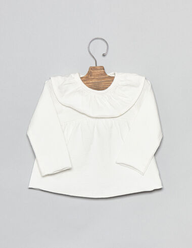T-shirt écru à petits volants pour bébés - Tee-shirts - Nícoli