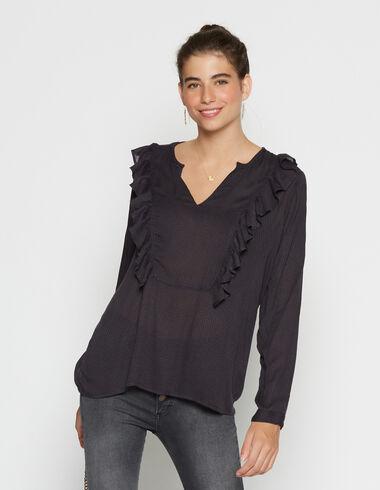 Girls' anthracite v-neck blouse - Shirts - Nícoli