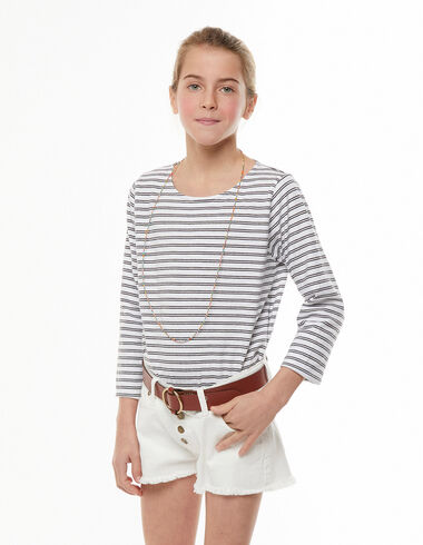 Long sleeved white and anthracite striped t-shirt - View all > - Nícoli
